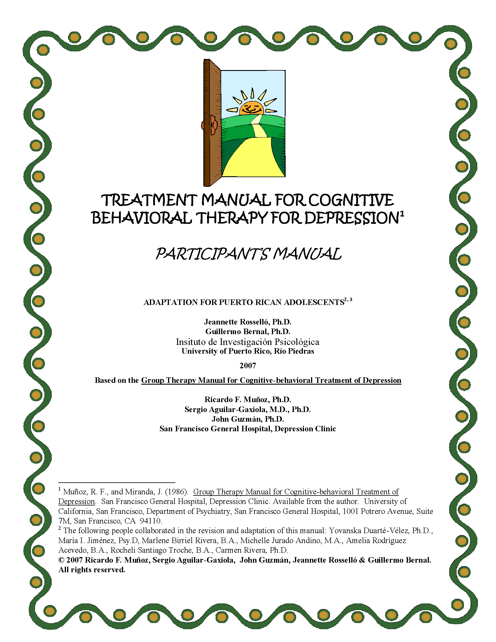 Trearment Manuals for Cognitive Behavioral Therapy for Depression -  Adaptation for Puerto Rican Adolescents